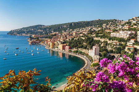 Foto de Panoramic view of Cote d'Azur near the town of Villefranche-sur-Mer - Imagen libre de derechos