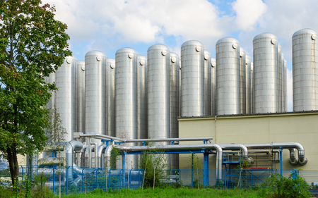 Foto de Water storage tanks in eco-friendly industrial sewage treatment system for drinking water production - Imagen libre de derechos