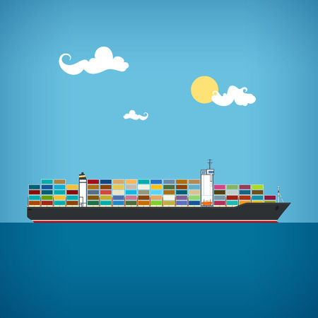 Illustration pour Cargo container ship transports containers at the blue ocean in a sunny day, vector illustration - image libre de droit