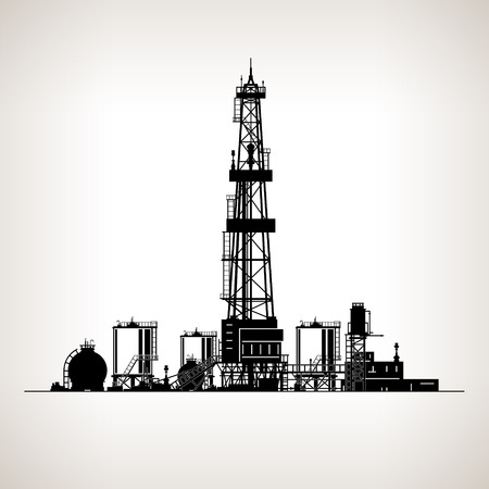 Ilustración de Silhouette Drilling Rig,  Oil Rig, Machine which Creates Holes in the Earth,Oil Well Drilling, Vector Illustration - Imagen libre de derechos