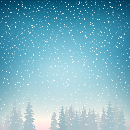 Illustration pour Snowfall, Snow Falls on the Spruce, Snowfall in the Forest, Fir Trees in Winter in Snowfall, Winter Background, Christmas Winter Landscape in Blue Shades, Vector Illustration - image libre de droit