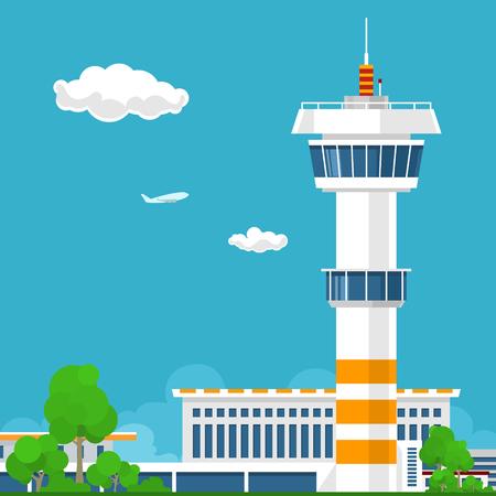 Illustration pour Airport Terminal, Airport with Control Tower ,Travel and Tourism Concept ,Vector Illustration - image libre de droit
