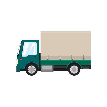 Illustration pour Green Small Covered Truck Isolated on White Background , Transport Delivery Services and Logistics, Shipping and Freight of Goods, Vector Illustration - image libre de droit