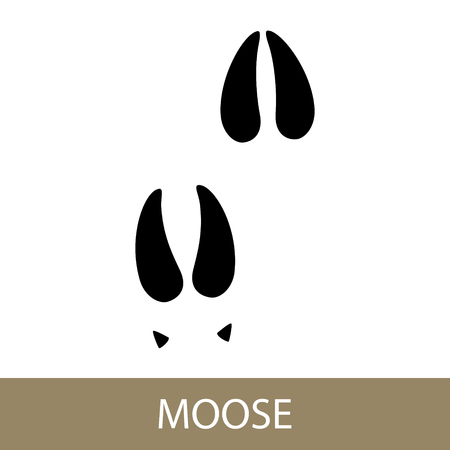 Illustration pour Track of Forest Animal, Trace of a Moose Animal. Vector Illustration. - image libre de droit