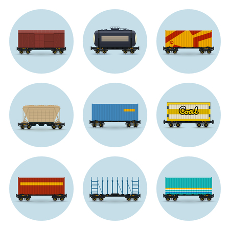 Illustration pour Set of Icons, Covered and Wagon for Coal, Container on Railroad Platform, Platform for Transportation of Bulk or Long Cargo and for Timber Transportation , Railway Tank Car and Hopper Car, Vector - image libre de droit