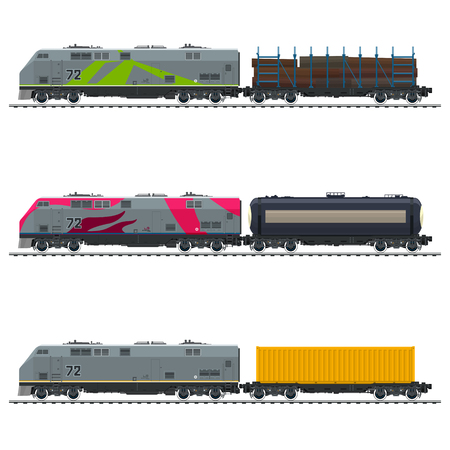 Illustration pour Locomotive with Yellow Cargo Container, with Railway Tank Car and Platform with Timber , Freight Transportation, Vector Illustration - image libre de droit