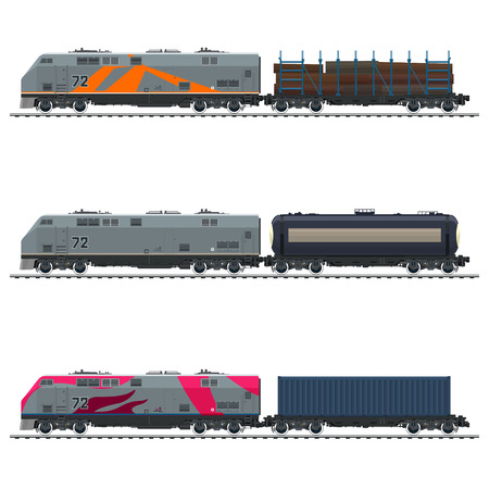 Illustration pour Locomotive with Blue Cargo Container, with Railway Tank Car and Platform with Timber , Freight Transportation, Vector Illustration - image libre de droit