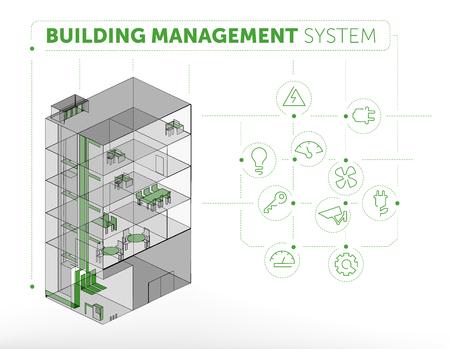 Ilustración de Building Management System Concept - Imagen libre de derechos