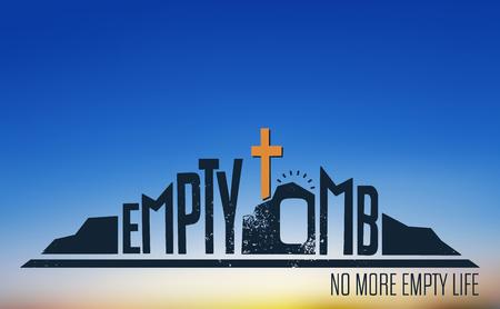 Illustration pour Empty Tomb - No More Empty Life Concept on Blurred Background - image libre de droit