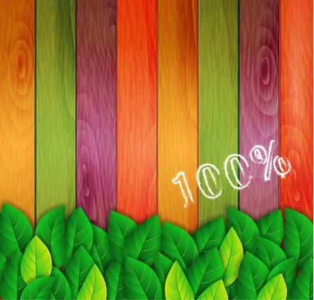 Ilustración de green leaves on a colored background - Imagen libre de derechos
