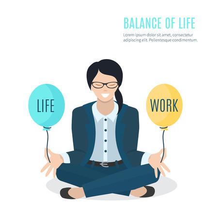 Ilustración de Businesswoman meditating. Woman balancing life and work - Imagen libre de derechos