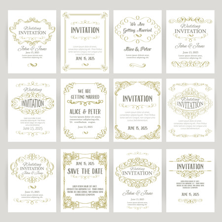 Illustration for set of templates with banners vintage design elements - Royalty Free Image