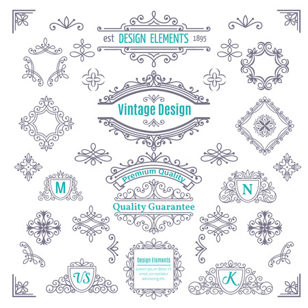 Illustration for Set of Vintage Vector Line Art Calligraphic Elements .  Decorative Dividers, Borders, Swirls, Scrolls, Monograms and  Frames. - Royalty Free Image