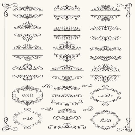 Illustration pour Calligraphic Design Elements . Decorative Swirls,Scrolls  and Dividers. Vintage Vector Illustration. - image libre de droit