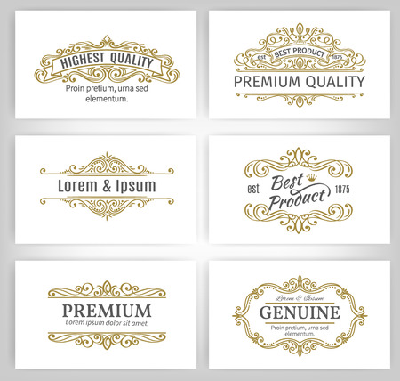 Photo pour Vintage Vector Banners Labels Frames. Calligraphic Design Elements . Decorative Swirls,Scrolls, Dividers and Page Decoration. - image libre de droit