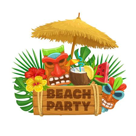 Ilustración de Vector hawaiian beach party banner. Tiki tribal mask, wooden signboard, straw umbrella, cocktail pina colada, watermelon, torch and flowers of hibiscus. - Imagen libre de derechos