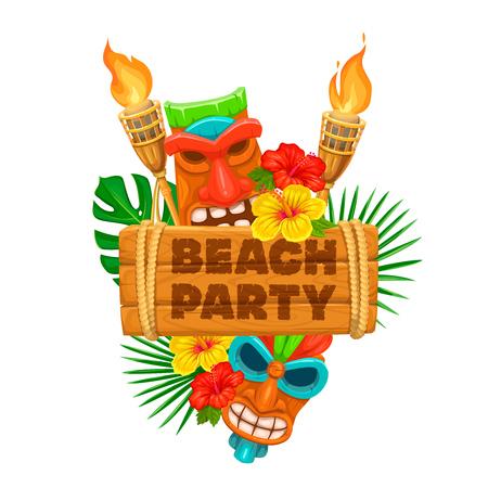 Ilustración de Vector hawaiian beach party banner. Tiki tribal mask, wooden signboard, torch and flowers of hibiscus. - Imagen libre de derechos