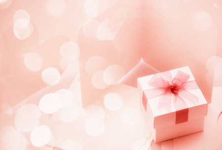 Photo for The Small gift box on around of bogey pink tone for background - Royalty Free Image