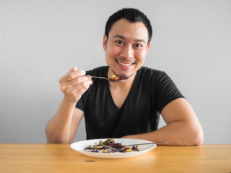 Foto de Asian man eats clean food for good healthy life. - Imagen libre de derechos