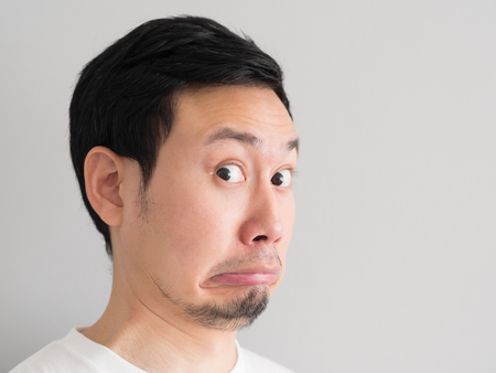 Photo for Shock face of Asian man head shot. - Royalty Free Image