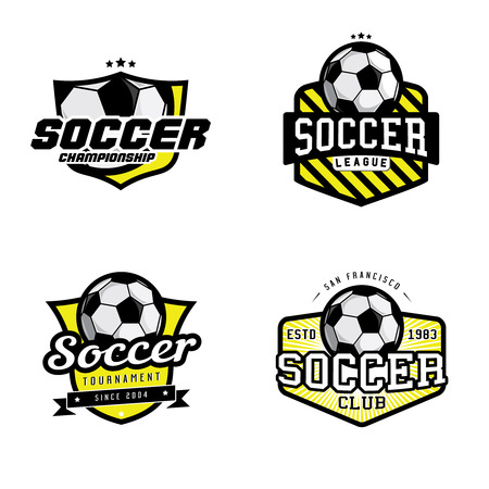 Illustration for Set of soccer league championship tournament club badges, labels, icons and design elements. Soccer themed t-shirt graphics - Royalty Free Image