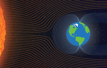 Illustration pour Magnetic field of Earth. Protect the Earth from solar wind, illustration - image libre de droit
