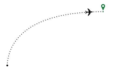 Ilustración de Airplane trace arc. Plane path illustration with destination poin - Imagen libre de derechos