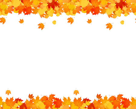 Ilustración de Set of autumn seamless footer and header for websites, ad, decoration. Falling leaves illustration. - Imagen libre de derechos