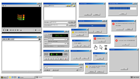 Illustration pour Old user interface. Retro browser windows and error message popup. Mockup of vintage multi media player, voice recorder and dialog box with system information. Pixelated computer mouse icons - image libre de droit