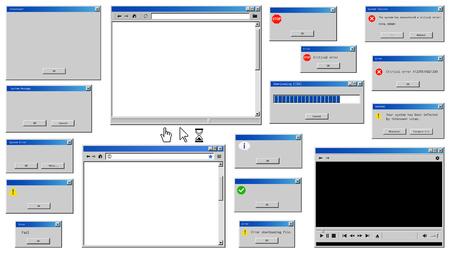 Ilustración de Old user interface windows. Retro browser and error message popup - Imagen libre de derechos