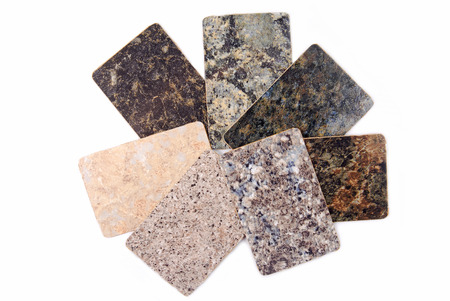 Photo for granite kitchen worktop samples isolated on white - Royalty Free Image