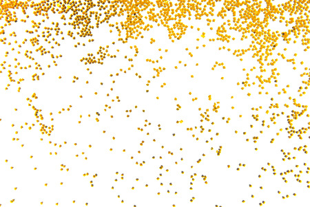 Photo for golden glitter falling isolated on white - Royalty Free Image
