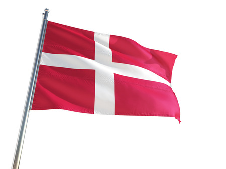 Foto de Denmark National Flag waving in the wind, isolated white background. High Definition - Imagen libre de derechos