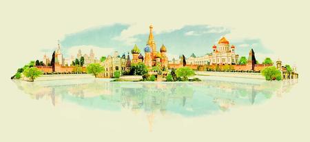 Illustration pour vector watercolor MOSCOW city illustration - image libre de droit