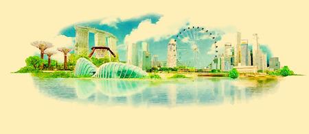Illustration pour vector watercolor SINGAPORE city illustration - image libre de droit