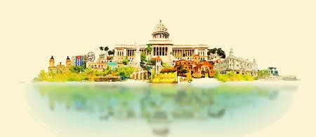 Illustration pour vector watercolor CUBA city illustration - image libre de droit