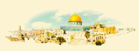 Illustration pour vector watercolor JERUSALEM city illustration - image libre de droit