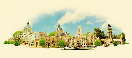 Illustration pour vector watercolor MADRID city illustration - image libre de droit