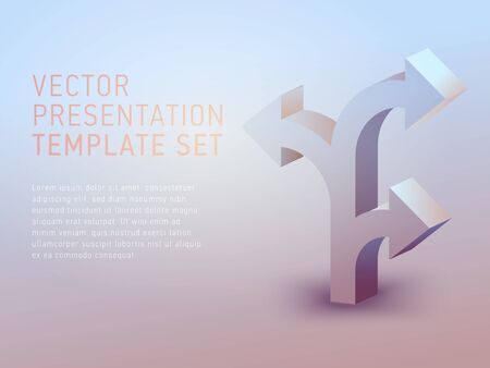 Ilustración de vector 3d business theme presentation template set - Imagen libre de derechos