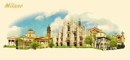Illustration pour vector panoramic water color illustration of MILANO city - image libre de droit