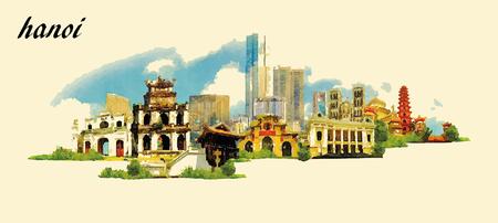Illustration pour HANOI city panoramic vector water color illustration - image libre de droit