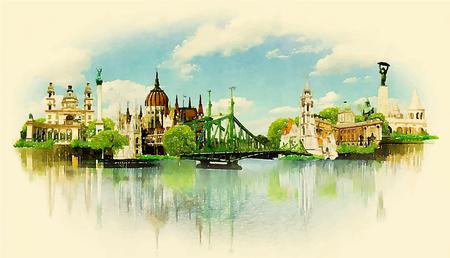 Photo pour watercolor illustration BUDAPEST view - image libre de droit