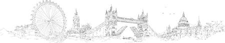 Illustration pour vector sketch hand drawing panoramic LONDON silhouette - image libre de droit