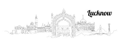 Illustration pour LUCKNOW city vector panoramic hand drawing illustration - image libre de droit