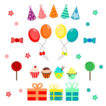 Illustration pour Party set with balloons, hat, candies and cupcakes - image libre de droit