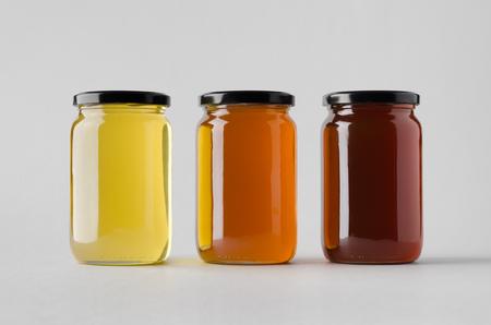 Photo pour Honey Jar Mock-Up - Three Jars - image libre de droit