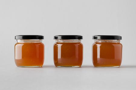 Photo pour Apricot Jam Jar Mock-Up - Three Jars - image libre de droit