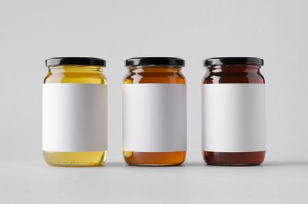 Photo pour Honey Jar Mock-Up - Three Jars. Blank Label - image libre de droit