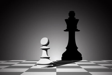 Illustration for picture of chess pawn droping shadow of a queen, strenght aspiration and leadeship concept - Royalty Free Image