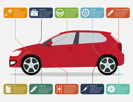 Ilustración de infographic template with car and car parts icons, service and repair concept - Imagen libre de derechos